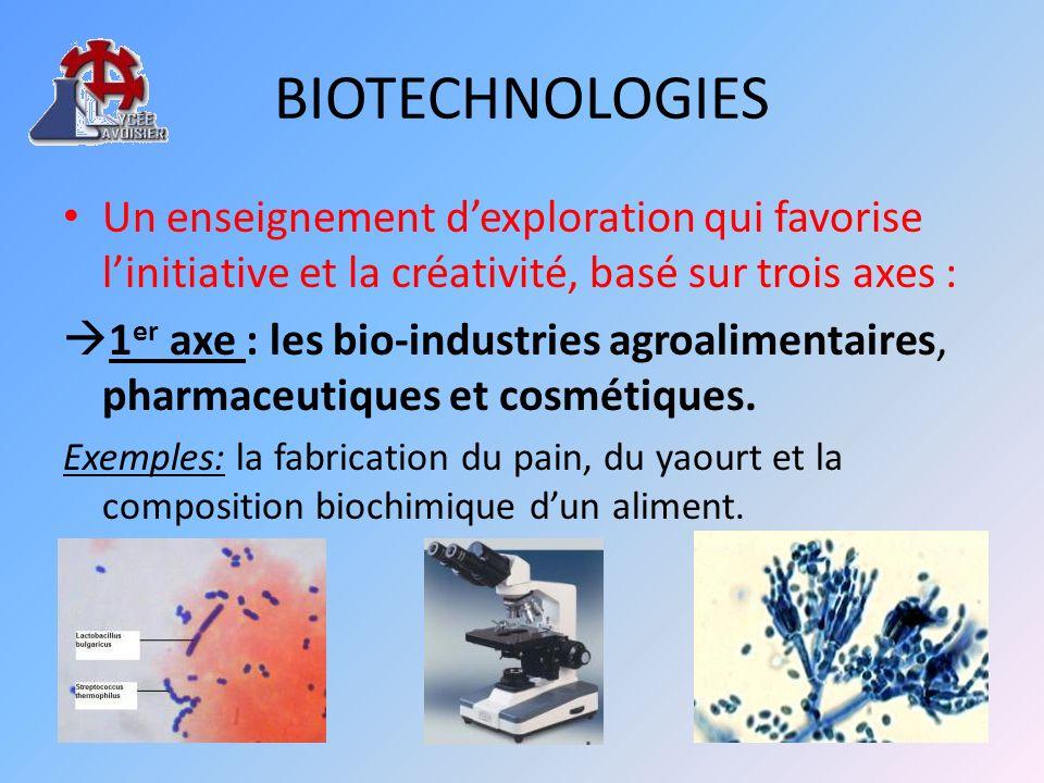 BIOTECHNOLOGIESUn enseignement d'exploration qui favorise l'initiative et la créativité, basé sur trois axes :