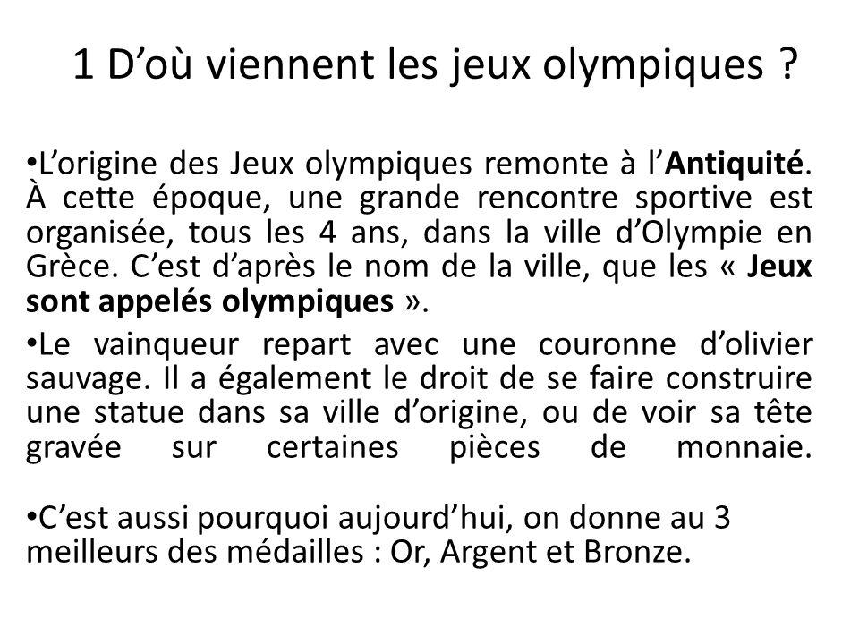 1 D'où viennent les jeux olympiques
