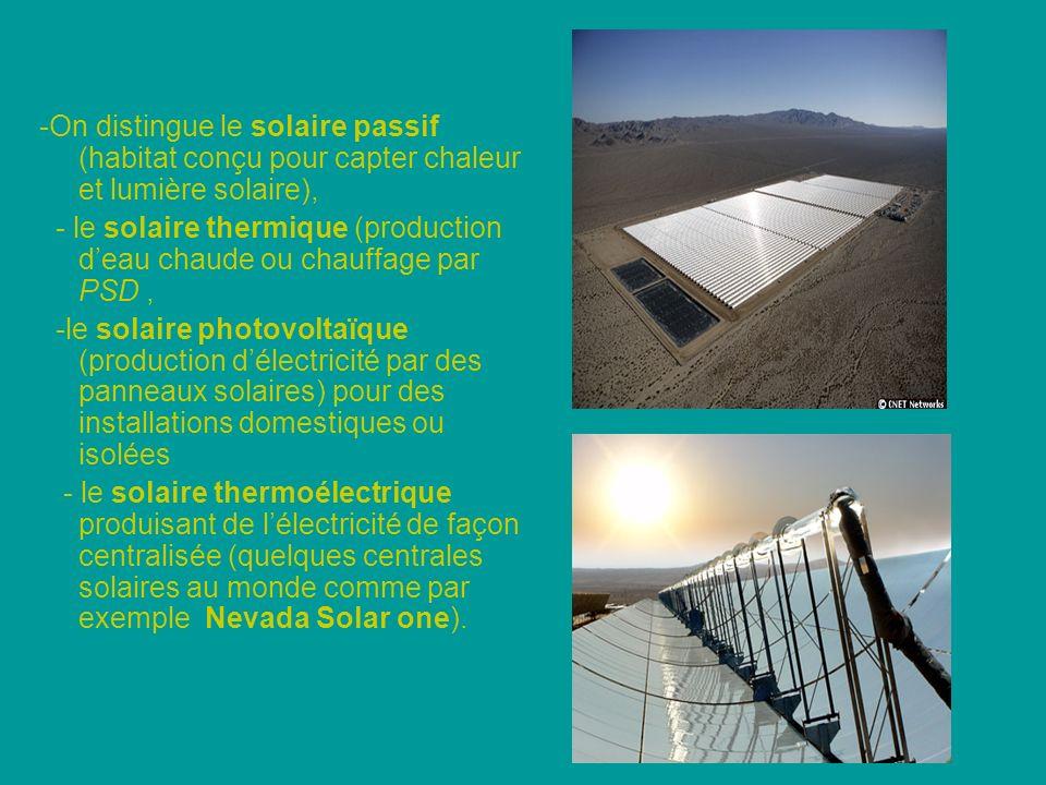 -On distingue le solaire passif (habitat conçu pour capter chaleur et lumière solaire),