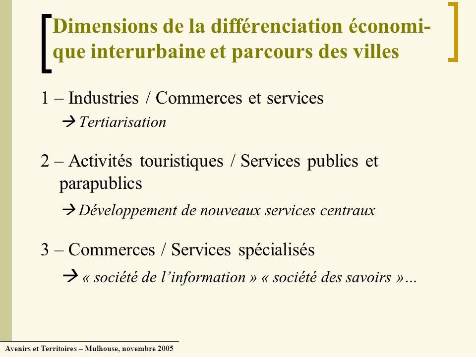 Dimensions de la différenciation économi- que interurbaine et parcours des villes