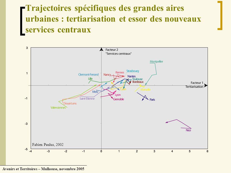 Trajectoires spécifiques des grandes aires urbaines : tertiarisation et essor des nouveaux services centraux