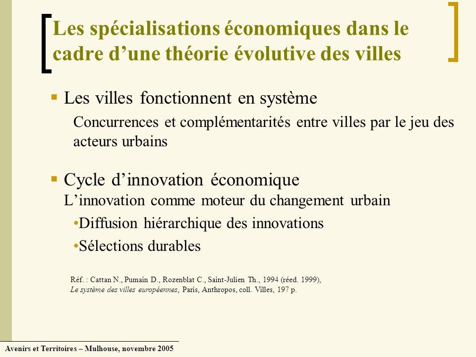 Les spécialisations économiques dans le cadre d'une théorie évolutive des villes
