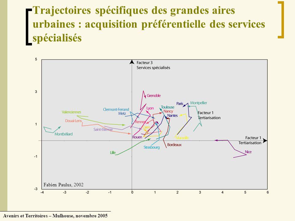 Trajectoires spécifiques des grandes aires urbaines : acquisition préférentielle des services spécialisés