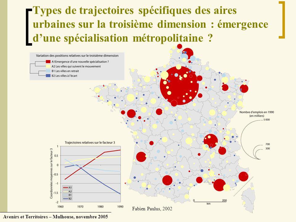 Types de trajectoires spécifiques des aires urbaines sur la troisième dimension : émergence d'une spécialisation métropolitaine