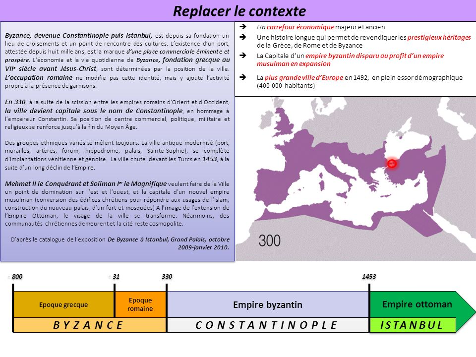 Replacer le contexte BYZANCE CONSTANTINOPLE ISTANBUL Empire byzantin