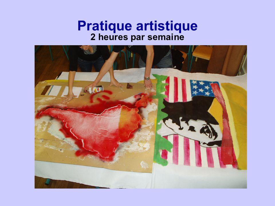 Pratique artistique 2 heures par semaine