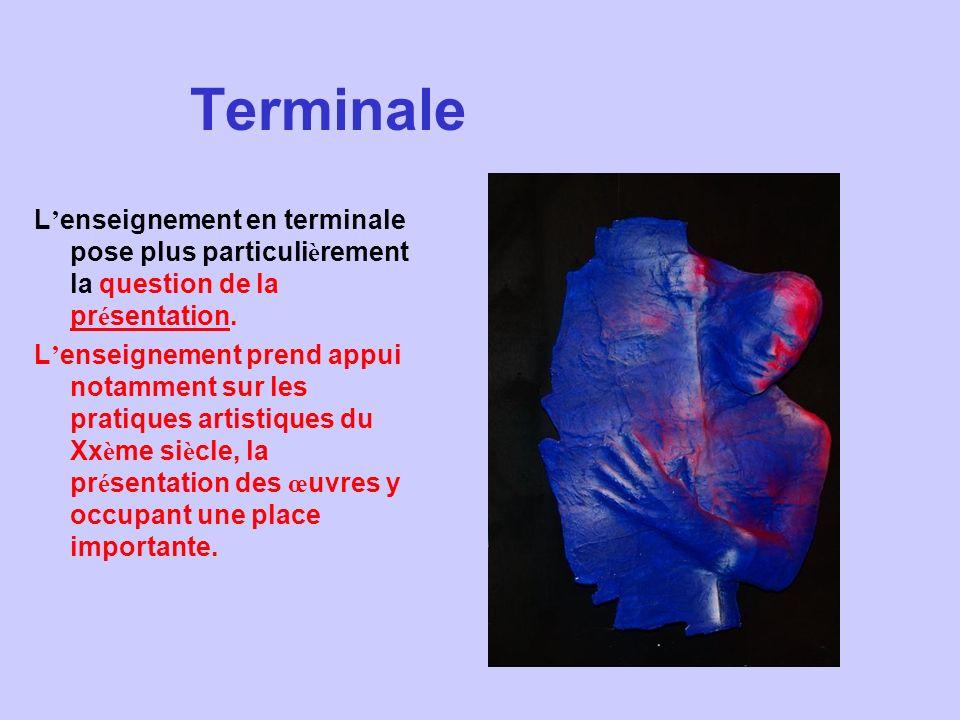 Terminale L'enseignement en terminale pose plus particulièrement la question de la présentation.