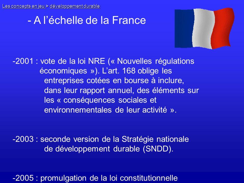 - A l'échelle de la France