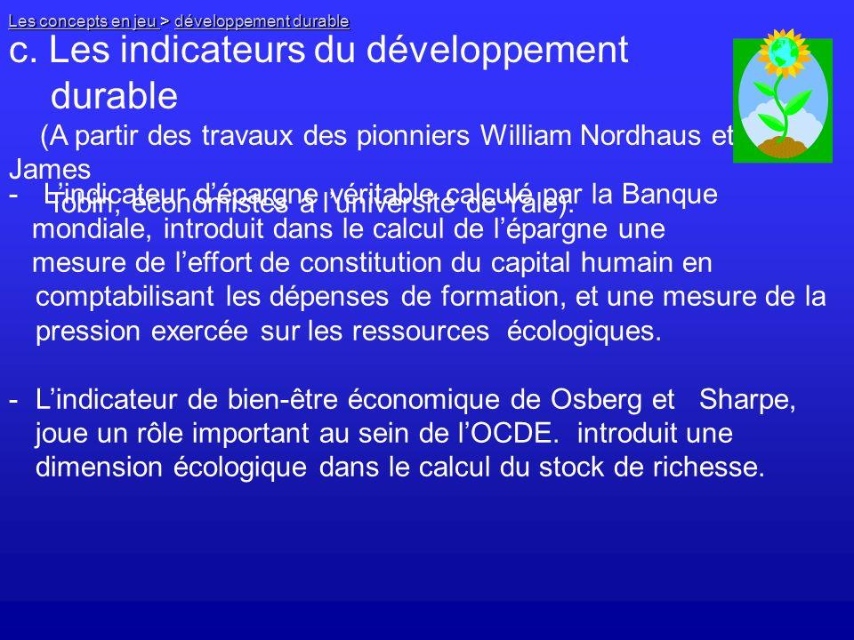 c. Les indicateurs du développement durable