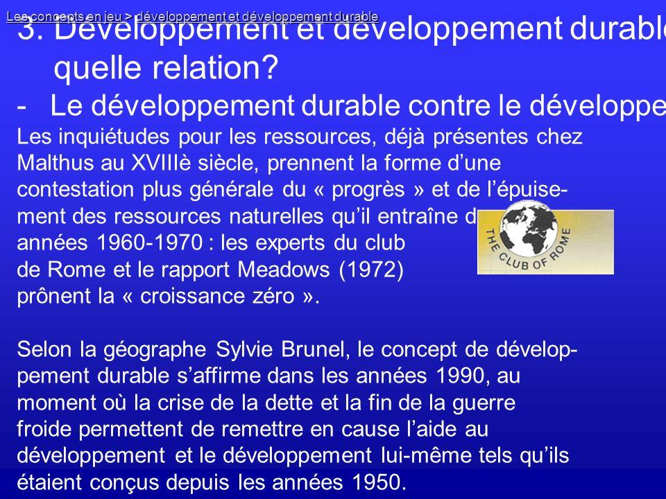 3. Développement et développement durable, quelle relation