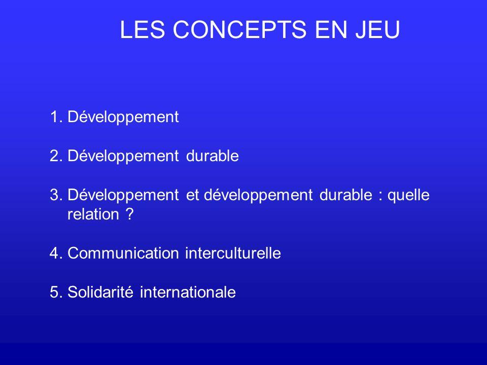 LES CONCEPTS EN JEU 1. Développement 2. Développement durable