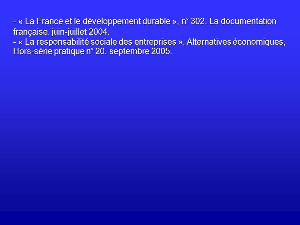 « La France et le développement durable », n° 302, La documentation française, juin-juillet 2004.