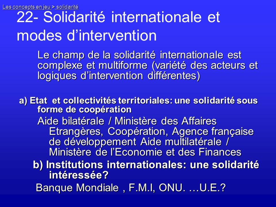 22- Solidarité internationale et modes d'intervention