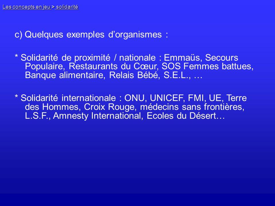 c) Quelques exemples d'organismes :