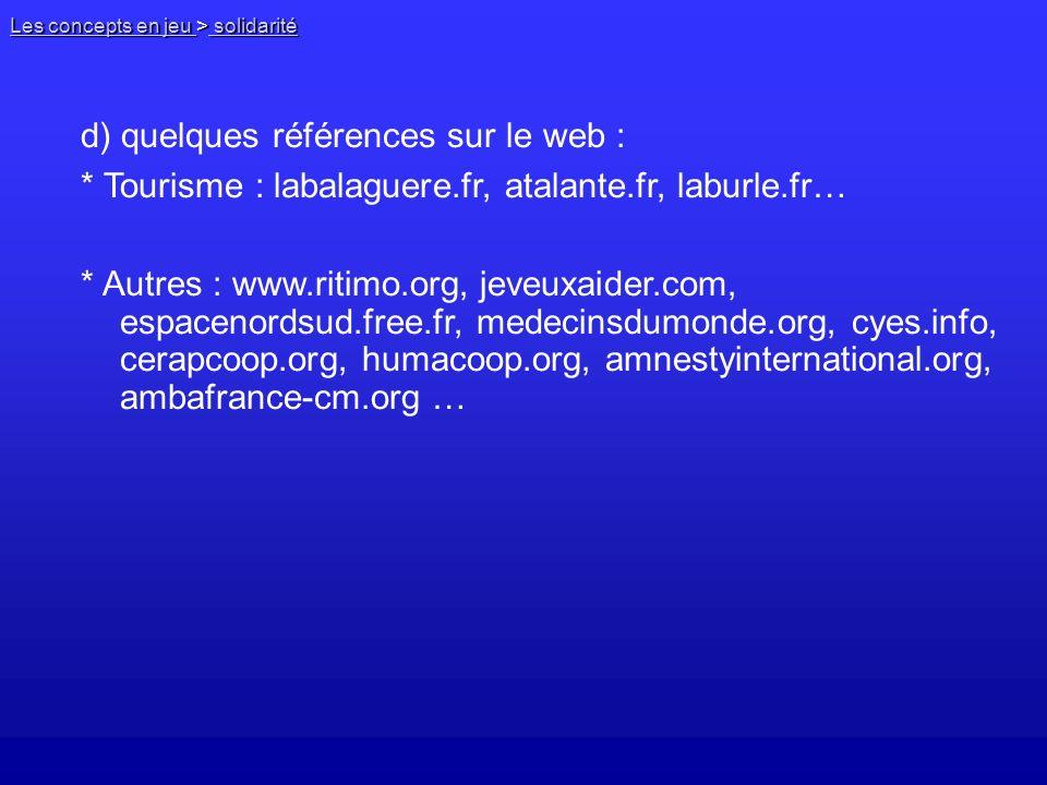 d) quelques références sur le web :