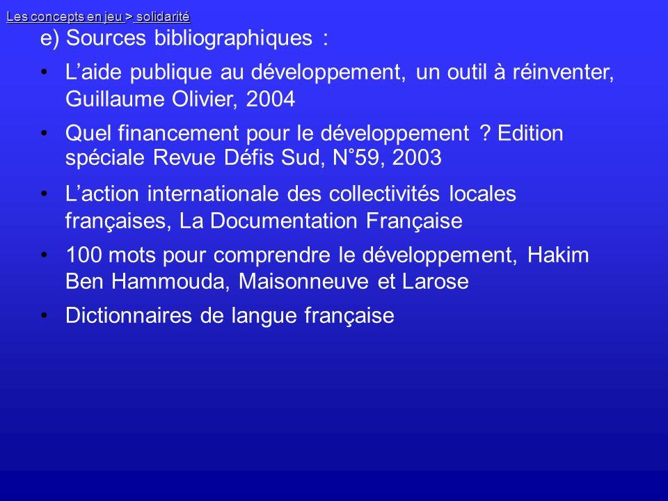 e) Sources bibliographiques :