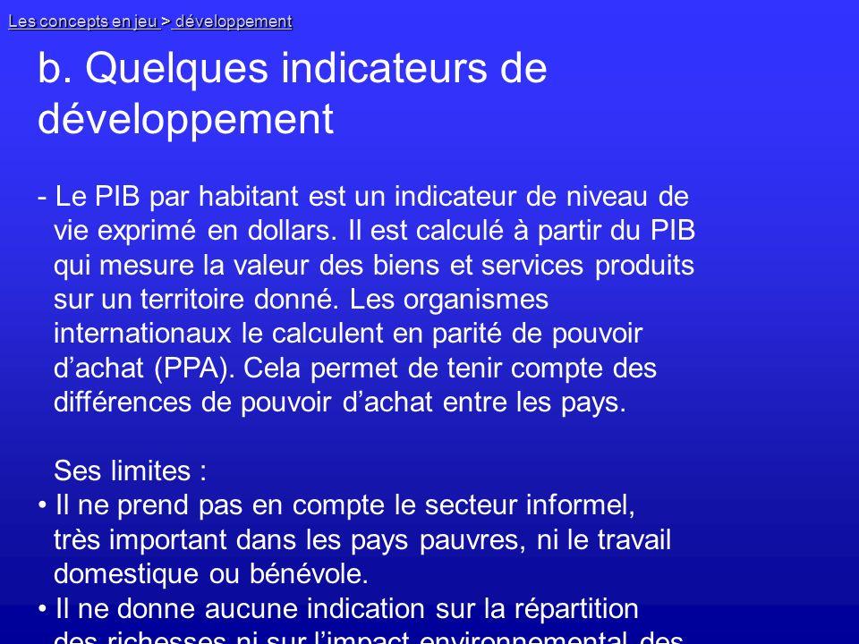 b. Quelques indicateurs de développement
