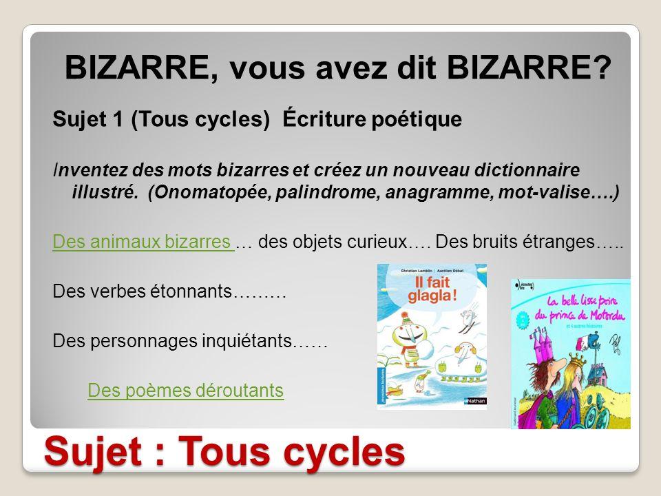 BIZARRE, vous avez dit BIZARRE
