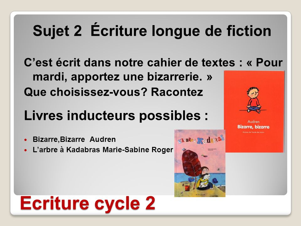 Ecriture cycle 2 Livres inducteurs possibles :