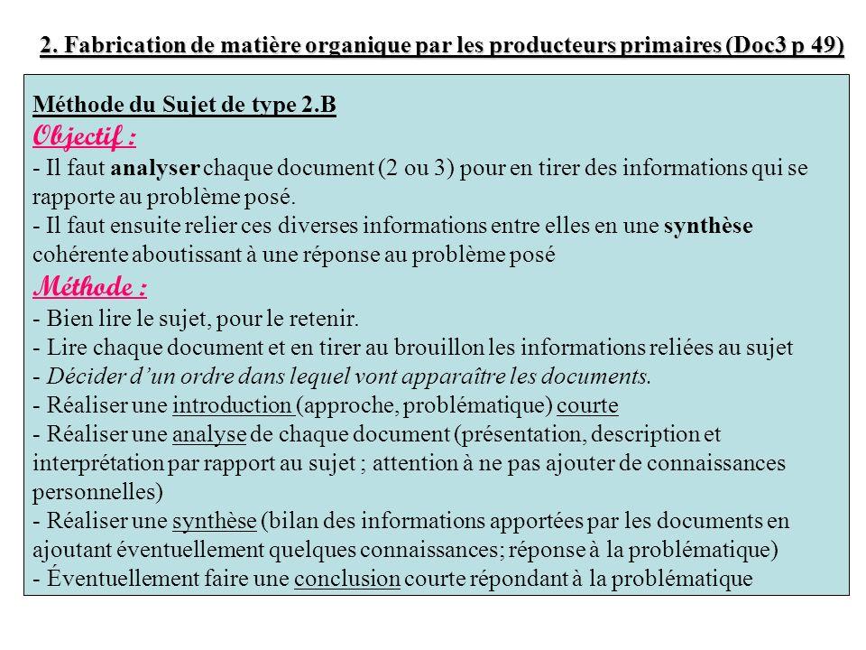 2. Fabrication de matière organique par les producteurs primaires (Doc3 p 49)