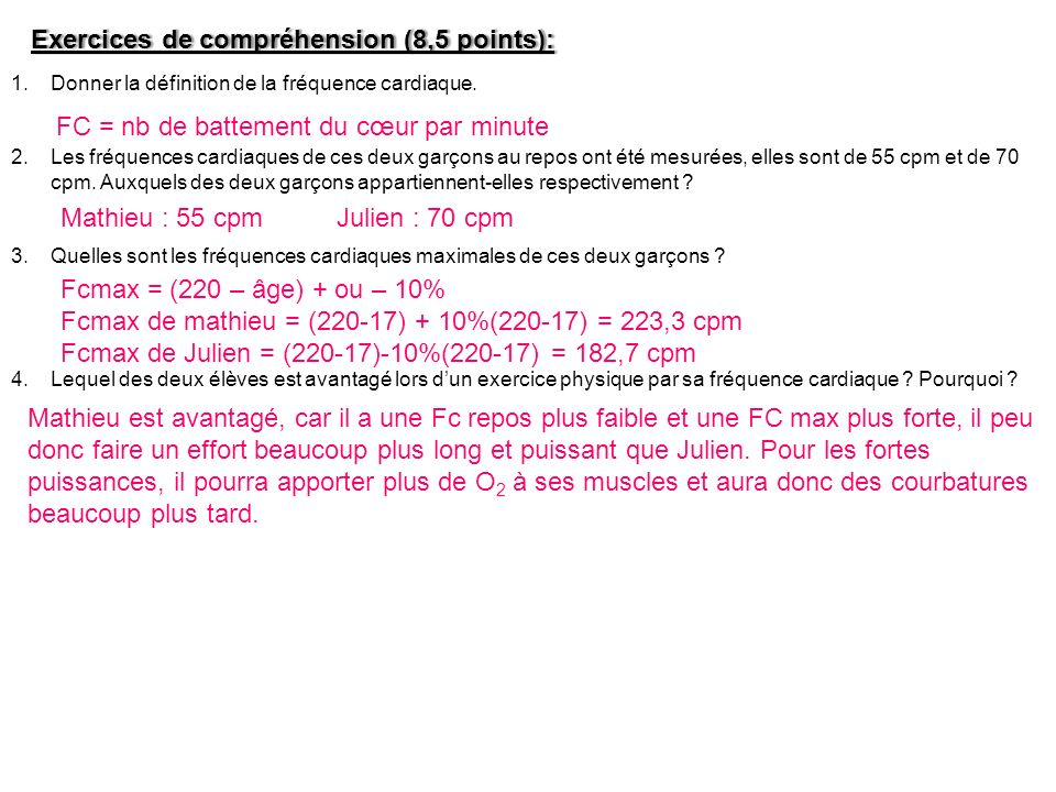 Exercices de compréhension (8,5 points):