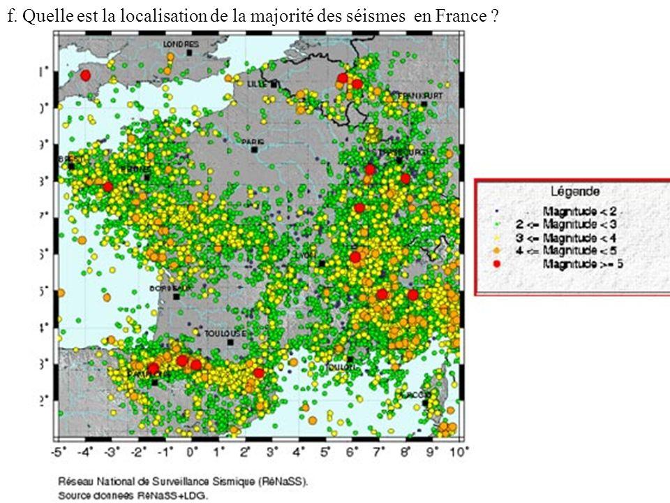 f. Quelle est la localisation de la majorité des séismes en France