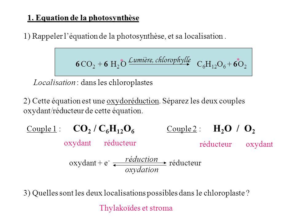 1. Equation de la photosynthèse