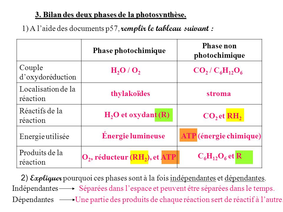Phase non photochimique