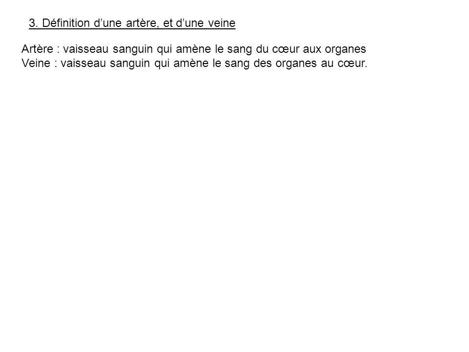 3. Définition d'une artère, et d'une veine