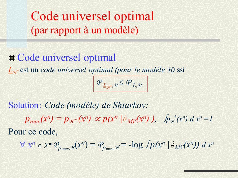 Code universel optimal (par rapport à un modèle)