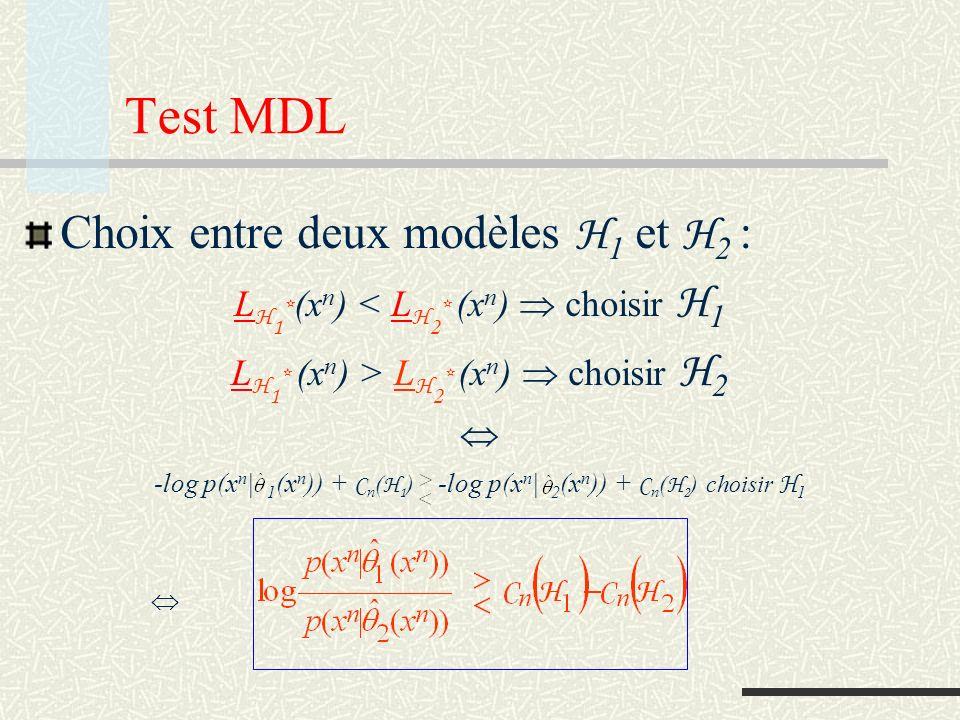 Test MDL Choix entre deux modèles H1 et H2 :
