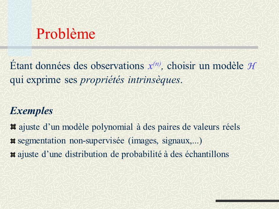 Problème Étant données des observations x(n), choisir un modèle H qui exprime ses propriétés intrinsèques.