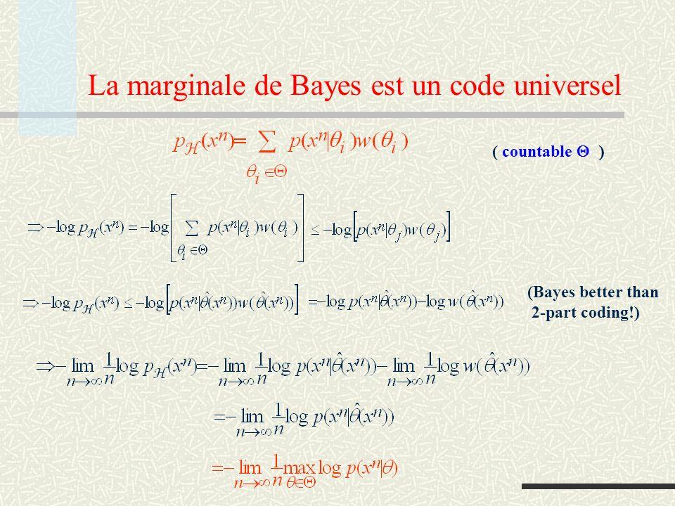 La marginale de Bayes est un code universel