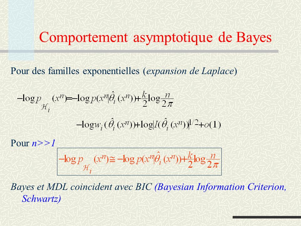 Comportement asymptotique de Bayes