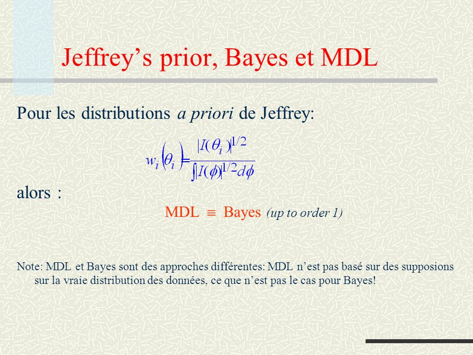 Jeffrey's prior, Bayes et MDL
