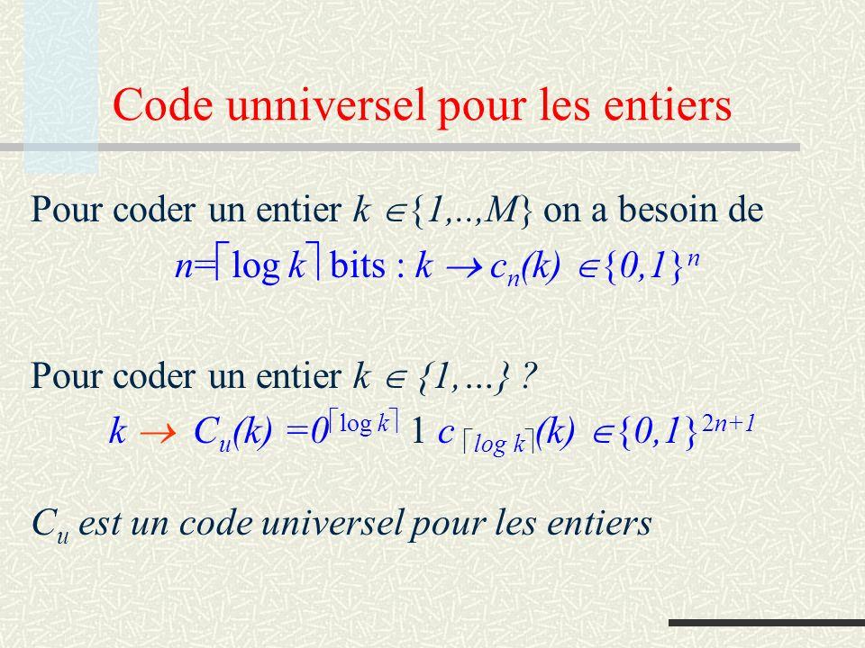 Code unniversel pour les entiers