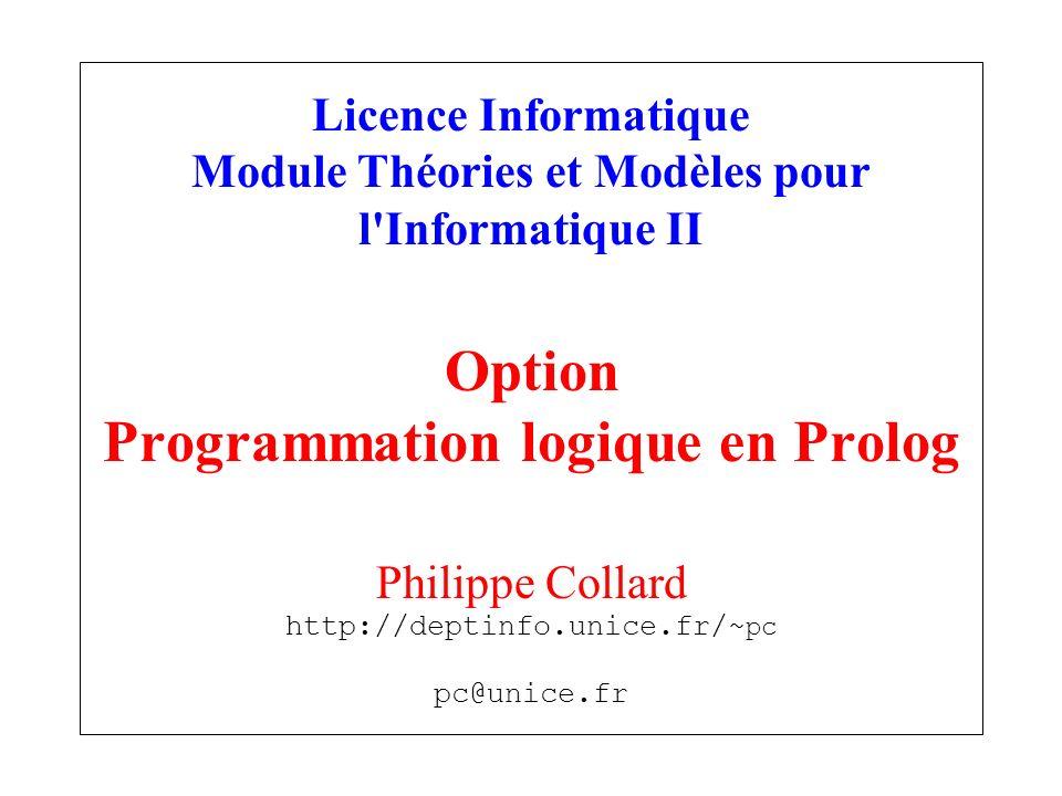 Licence Informatique Module Théories et Modèles pour l Informatique II Option Programmation logique en Prolog Philippe Collard http://deptinfo.unice.fr/~pc pc@unice.fr