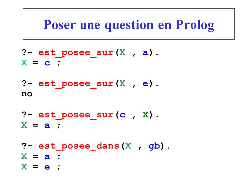 Poser une question en Prolog
