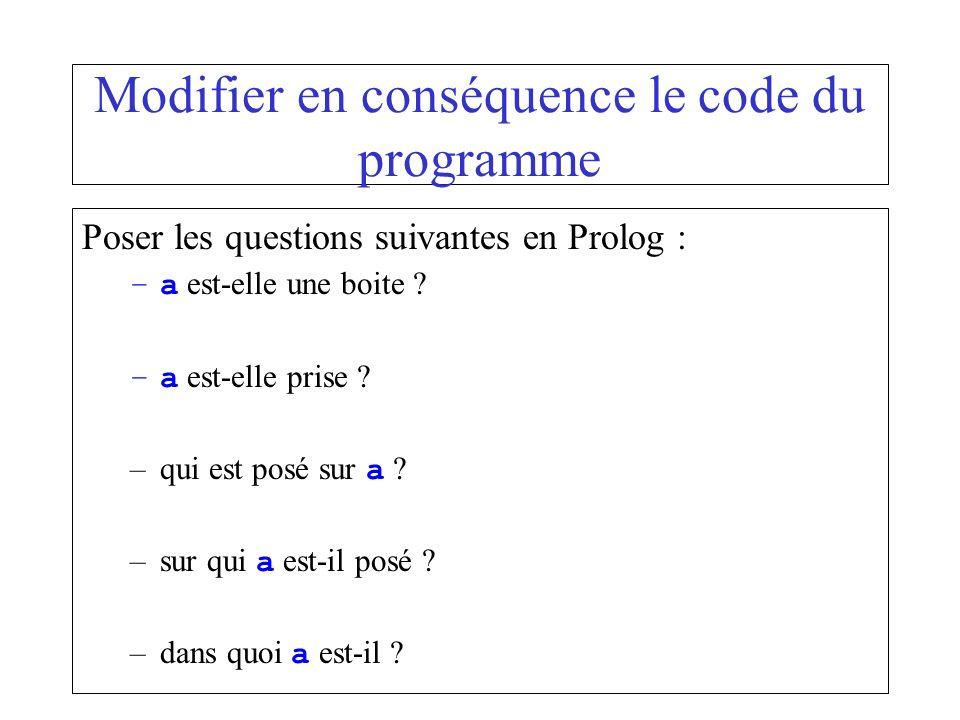 Modifier en conséquence le code du programme