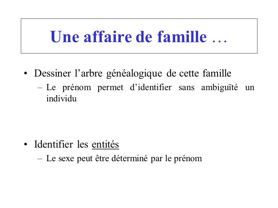 Une affaire de famille …