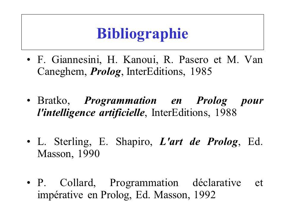 Bibliographie F. Giannesini, H. Kanoui, R. Pasero et M. Van Caneghem, Prolog, InterEditions, 1985.