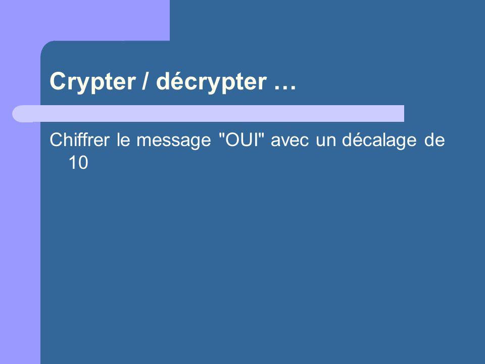 Crypter / décrypter … Chiffrer le message OUI avec un décalage de 10