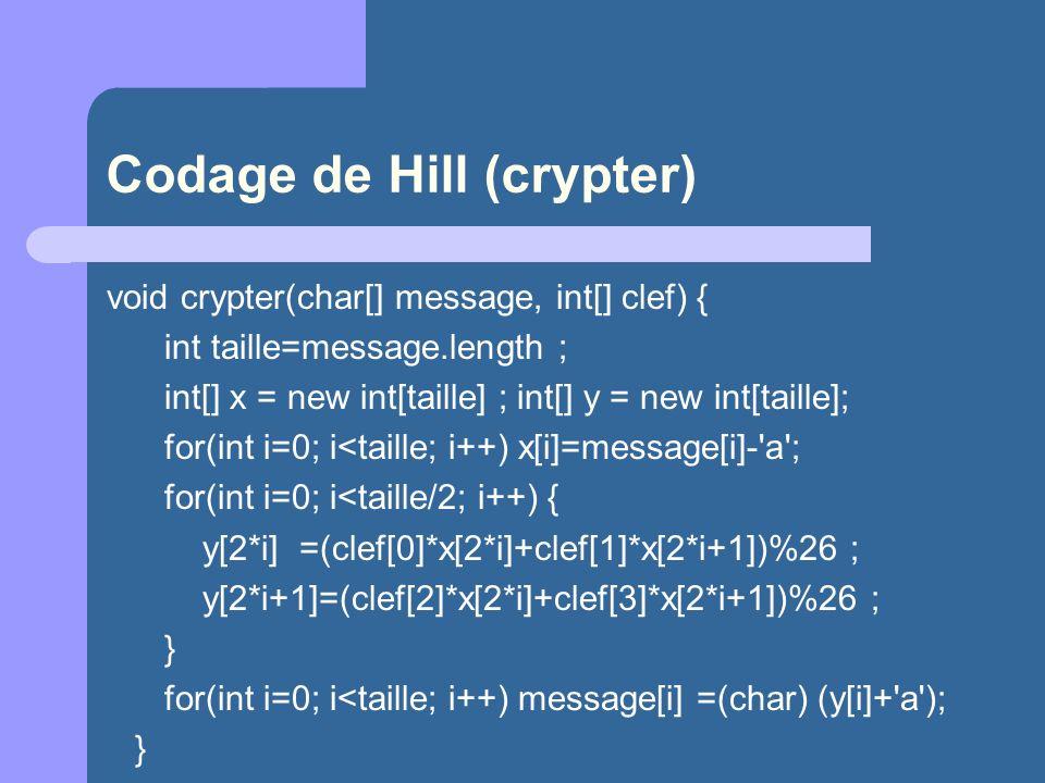 Codage de Hill (crypter)