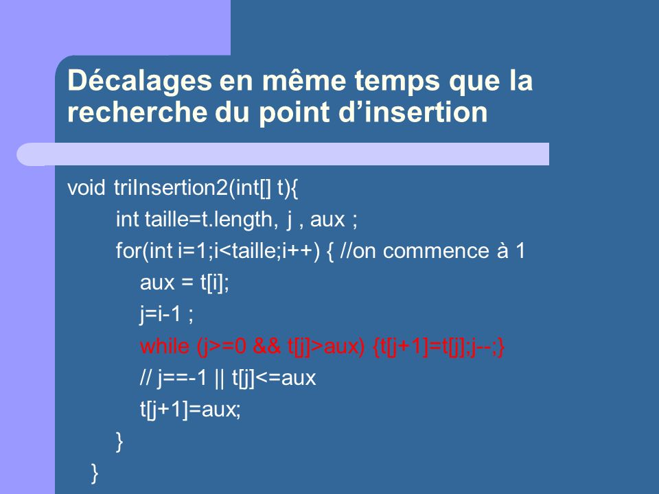 Décalages en même temps que la recherche du point d'insertion