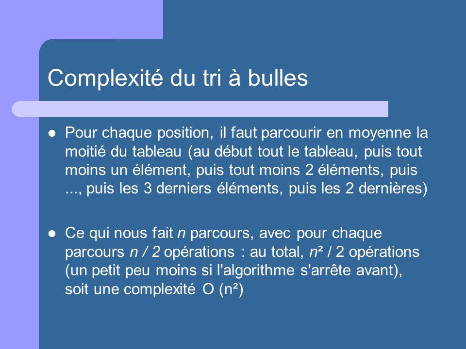 Complexité du tri à bulles