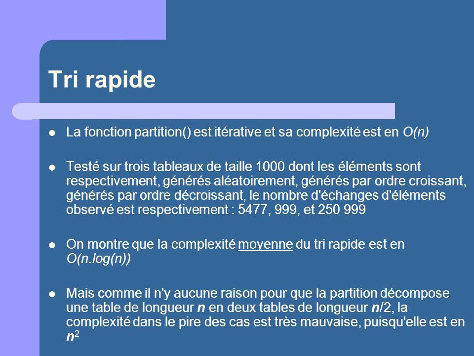Tri rapideLa fonction partition() est itérative et sa complexité est en O(n)
