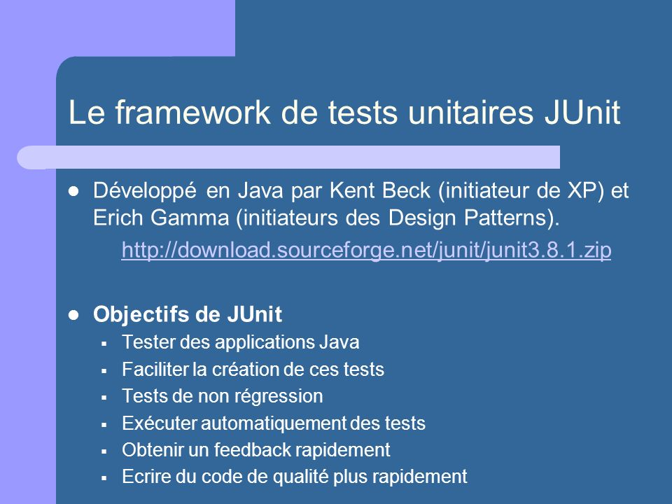 Le framework de tests unitaires JUnit