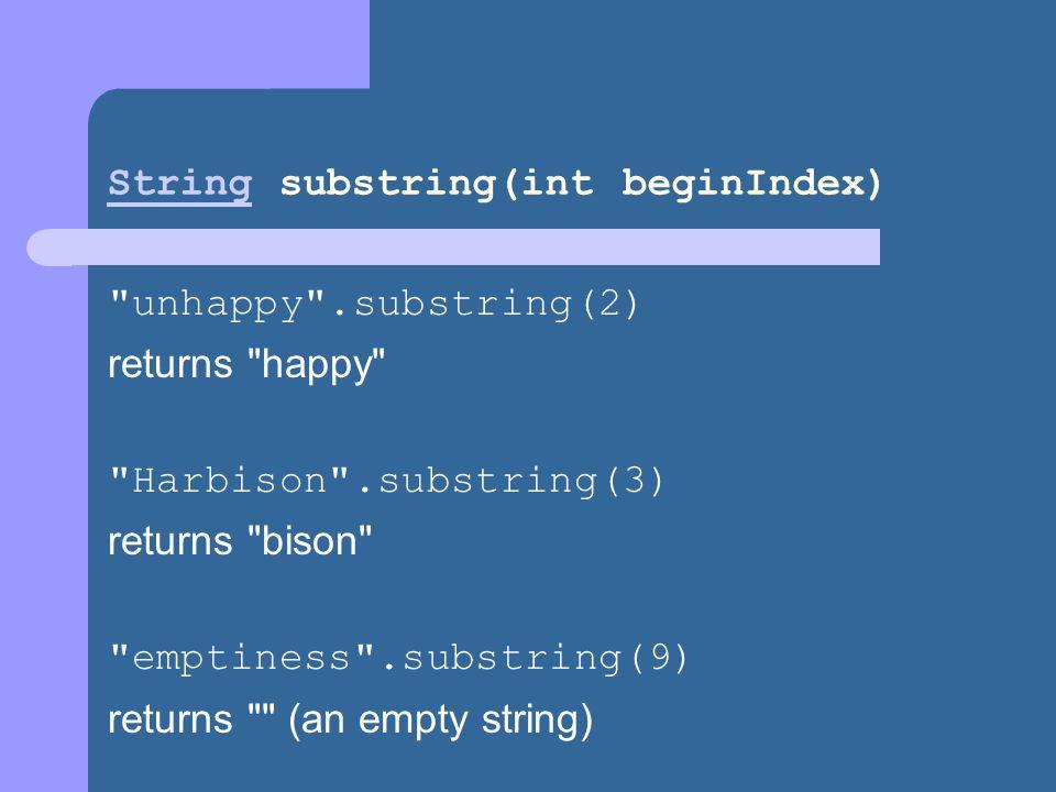 String substring(int beginIndex)