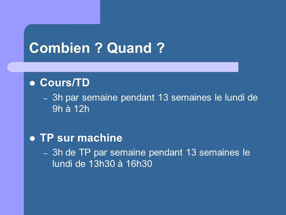 Combien Quand Cours/TD TP sur machine