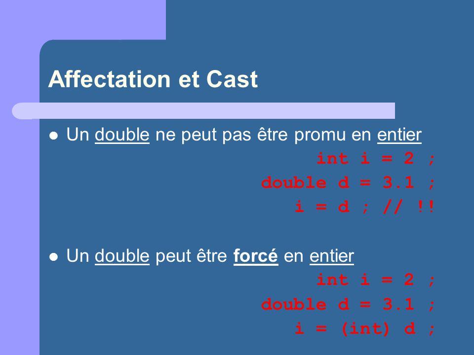 Affectation et Cast Un double ne peut pas être promu en entier